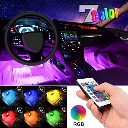 Car LED Strip Light, EJ's SUPER CAR 4pcs 36 LED Multi-color Car Interior Lights Under Dash Lighting Waterproof Kit with Multi-Mode Change and Wireless Remote Control, Car Charger Included,DC 12V...