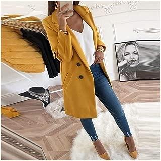 LUKEEXIN Women Wool Outwear Winter Woollen Coat Long Sleeve Turn-Down Collar Blends Jacket Elegant Lady Overcoats