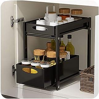 Sous-meuble de lavabo empilable,organiseur avec panier tiroir coulissant,pour cuisine et salle de bains,Noir,blanc,38.3*24...