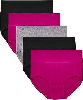 OUENZ Women's Cotton Underwear,5 Pack Seamless Breathable Solid Comfortable High Waist Soft Briefs Panties for Women