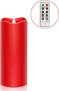 Remote Control 3D Moving Flame Led Candle with Timer, Battery Operated Candle for Home and Christmas Decoration, 3x7 Inch, Red