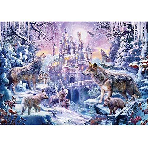 Puzzles para Adultos Puzzle de 1000 Piezas, Fuerte del Lobo de Nieve, Juguete Educativo Intelectual de descompresión, Divertido Juego Familiar para niños y Adultos