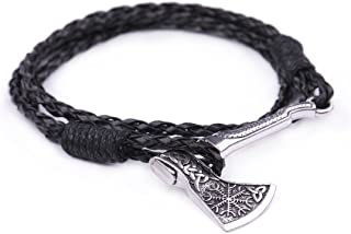 Fishhook Bracciale con simbolo a forma di ascia, stile: wicca, normanno, nodo celtico, trinità celtica, valknut, talismano...