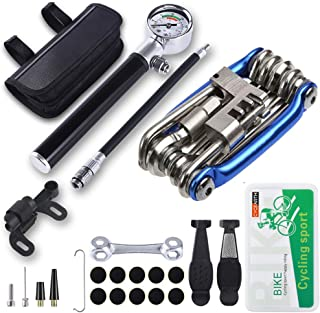 CYCEARTH Bicycle Tyre Repair Tool Kit with 210 Psi Mini Pump,11-in-1 Multi-Tool(with Chain Breaker),Tyre Levers,Tire Patc...