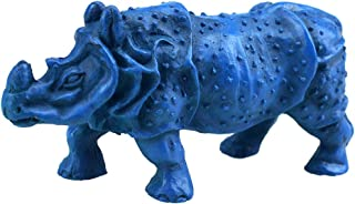 fengshuisale Feng Shui Double Horn Blue Rhinoceros Statue to Anti Burglary W Free Red String Bracelet J2095