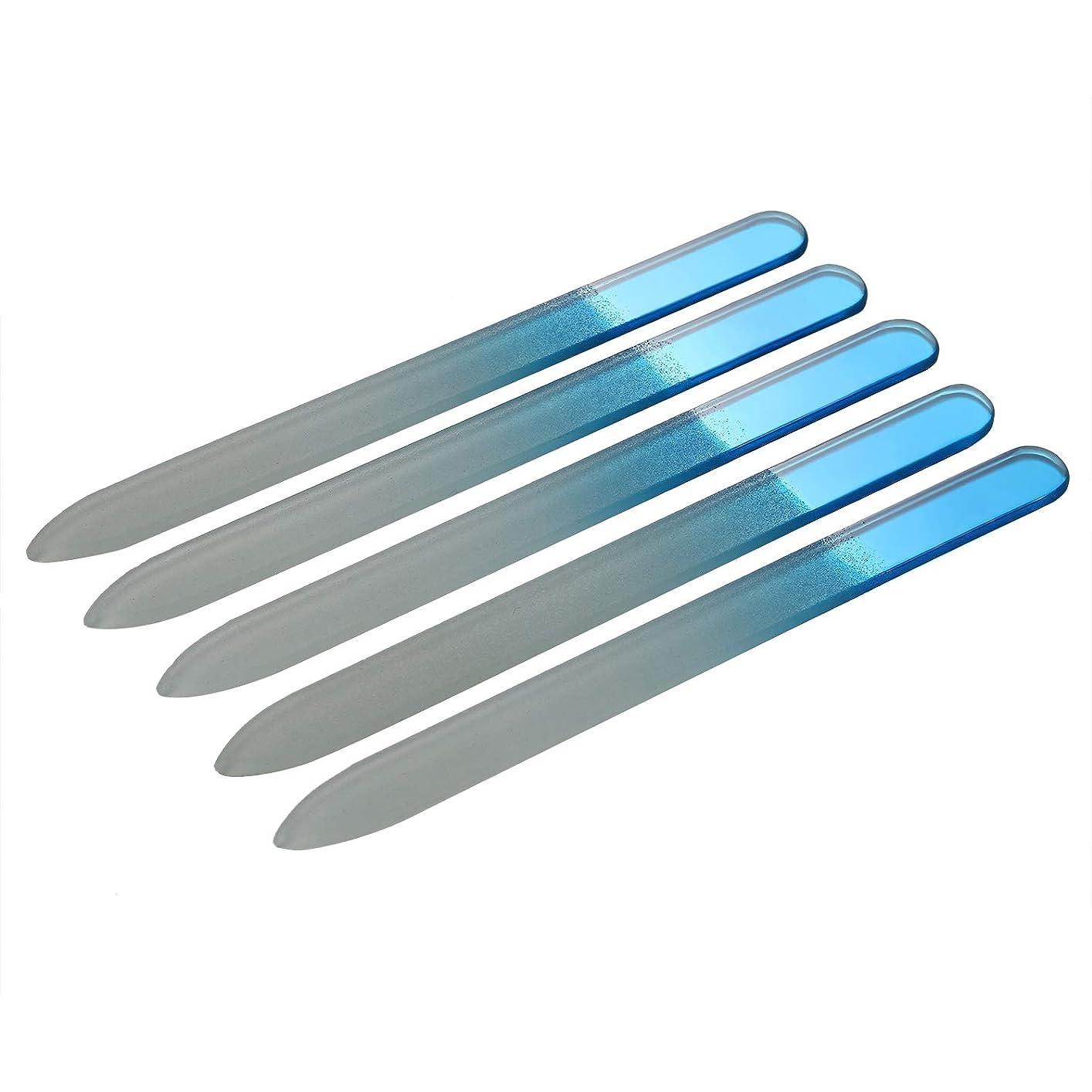 グラフィック販売員等JewelryWe 爪やすり 爪磨き ネイルヤスリ ガラス製 両面タイプ 5本セット ブルー