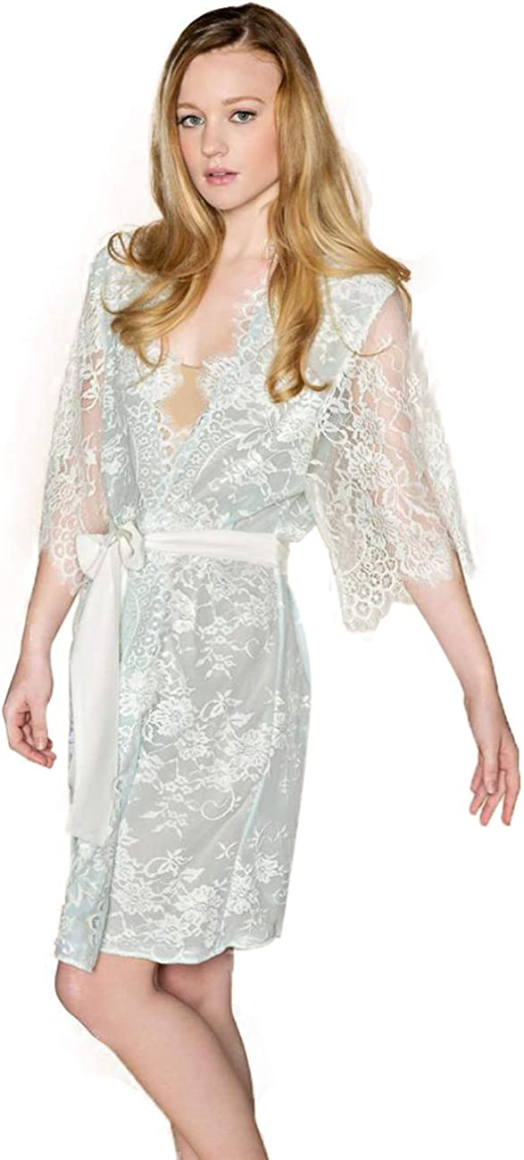 BathGown Women's Robe Nightgown with Chantilly Lace Crop Top Wedding Lace Wedding Dress Bridal Separates