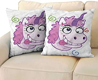 RuppertTextile Funny Customized Pillowcase Crazy Unicorn with Happy Face Cushion W17 x L17