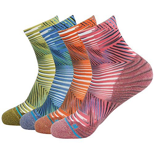 HUSO Ankle Running Socks Valentines Day Gift Unisex Plaid Custom Elite Basketball Coolmax Dri Fit Socks 4 Pairs (Olive, Blue, Orange, Pink, L/XL)