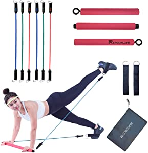 REPCURLGYM Pilates Bar Kit with Resistance Bands (15,20,25lbs. Stackable) for Women and Man, Portable Compact 3-Section Sticks, Resistance Band Bar, Exercise Equipment for Home Workouts (Hot Pink)