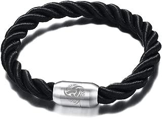 Vnox Handmade Braid Rope Stainless Steel Viking Symbol Odin¡¯s Horn Triple Magnetic Clasp Cuff Bracelet
