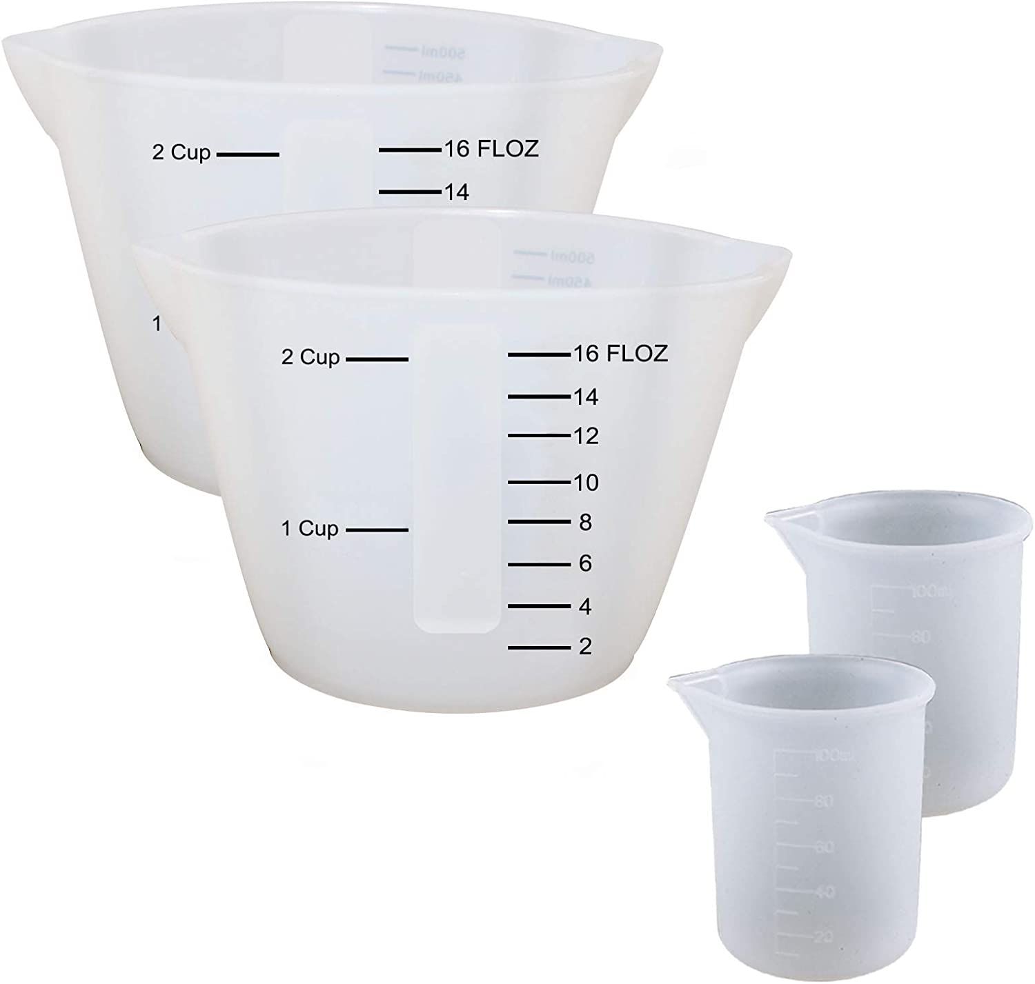 4 Low price Pieces Large Silicone Memphis Mall Measuring Mixing Resin Pourin Cups