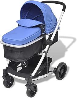 mewmewcat 2-i-1 Buggy barnvagn hopfällbar barnsportbil regnskyddshuva kan användas för barn upp till 15 kg blå och svart