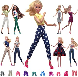 HUICAO 5 Sets Fashion Casual Wear Outfits and 5 Pairs of Shoes for 11.5 Inch Girl Doll(Random Style as The Picture)