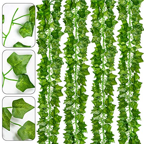 DearHouse 24 Pack 168Ft Artificial Ivy Vine Greenery Garlands Fake Plants Hanging Garland Fake Vine Leaves Home Kitchen Garden Office Wedding Wall Decorrden Office Wedding Wall Decor