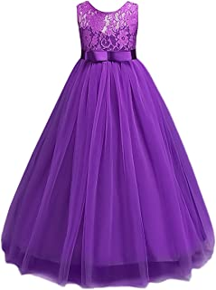 Big Girl Vintage Lace Junior Bridesmaid Dress Dance Ball Pageant Maxi Gown Floor Long for Party Wedding