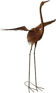 Crane Metal Bird Wings Out Garden Ornament Sculpture Statue Outdoor Decor 110X42X159cm