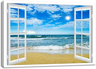 KALAWA Large Window Frame Style Beach Seascape Canvas Print Wall Art Modern Sea Landscape Picture for Office Gifts Living Room Bedroom Stretched and Wooden Framed Ready to Hang(24''H x 36''W)