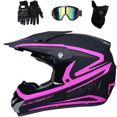 Fullface Motocross Helm Set Mit Brille Handschuhe Maske Motorrad Crosshelm Pocket Bike Helm Kinder Erwachsener Motorradhelm Für Mtb Enduro Atv Downhill Sicherheit Schutz Schwarz Und Pink L Sport Freizeit