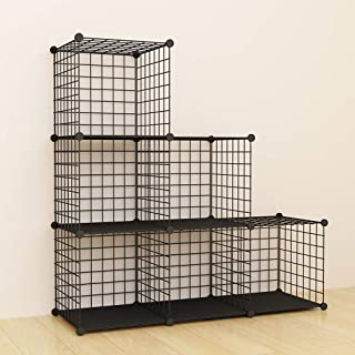 SIMPDIY Storage Cubes with Metal Wire Mesh 6 Cubes Bookshelf 37x12.5x37INCH Large Capacity Black Simple Storage Shelves