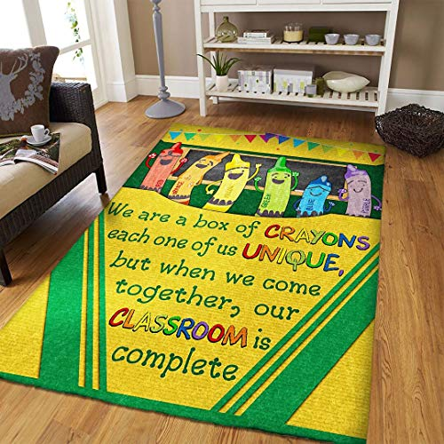Classroom We are A Box of Crayons Rug Area Rug for Living Room Bedroom Decor Kids Playing Rug Polyester Yoga Floor (2x3, 3x5, 4x6, 5x8)