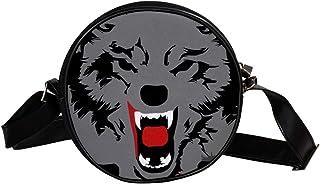Coosun Schultertasche für Kinder und Damen, Motiv: Wolf und Hund, Grau