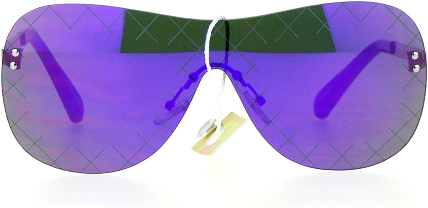 SA106 Futuristic Robot Shield Reflective Lens Aviator Sunglasses Purple