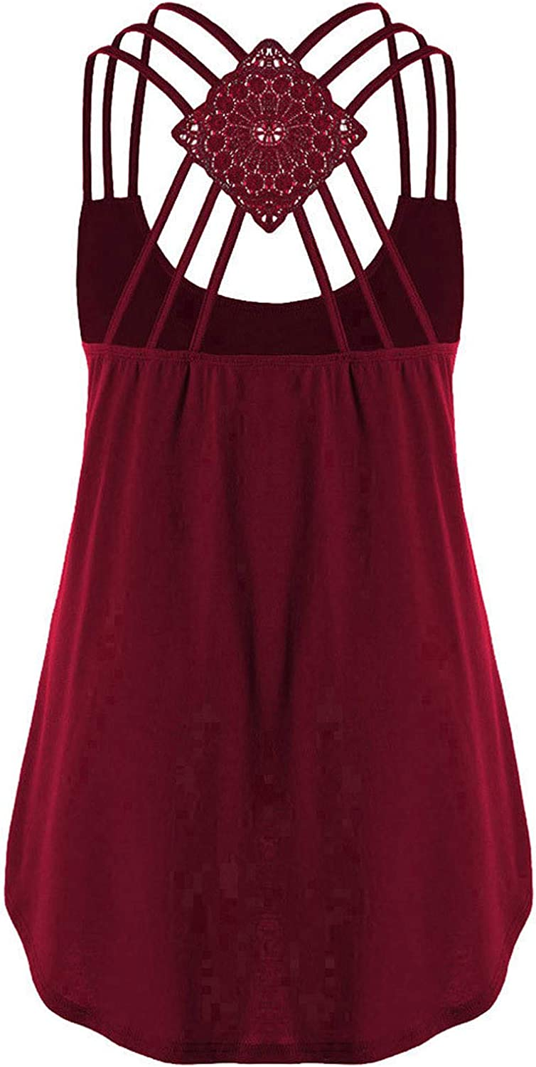 AODONG Tank Tops for Women Casual, Womens Strappy Summer Sleeveless Loose Fit Tank Shirts Crop Tops Tunics Blouses