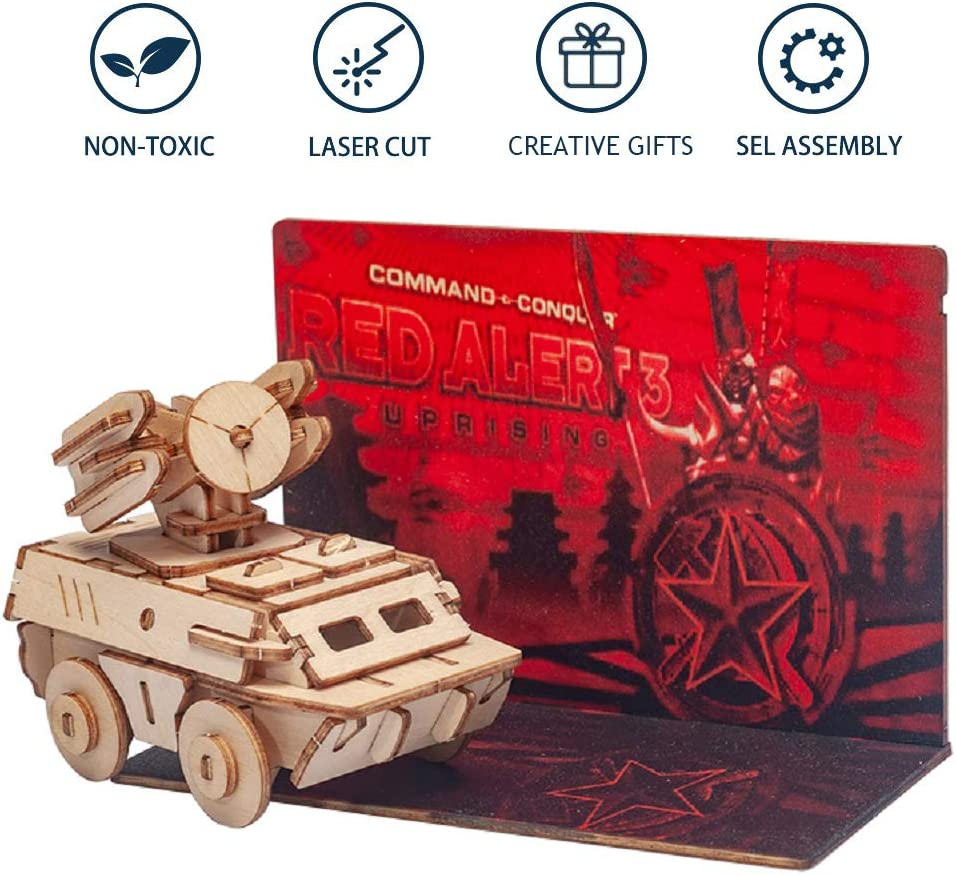 3D Wooden Puzzle Tank Model DIY Assembly Educational Toy Mechanical Constructor Vehicle Building Wood Craft Kits Birthday Gifts for Adults Teens Men Home Decor