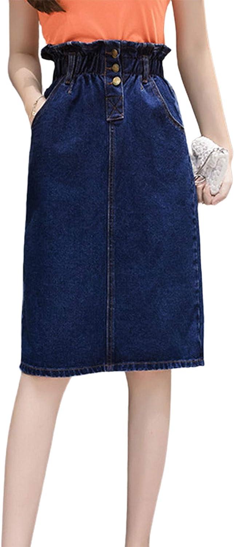 CHARTOU Women's Stylish Elastic High Waist 3-Button Split Denim Jean A-Line Midi Skirt