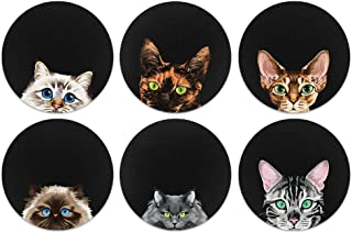 CARIBOU Coasters, Cat Breed (Group 4) Design Absorbent Round Fabric Felt Neoprene Coasters for Drinks, 6pcs Set