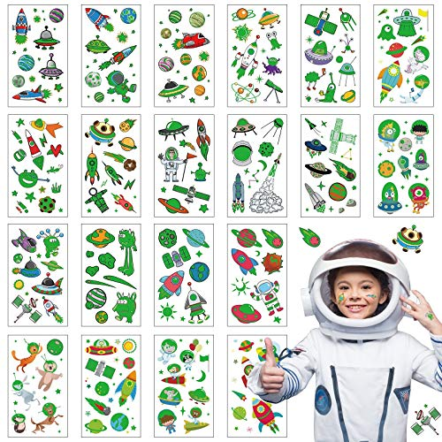 ZERHOK Tattoo Kinder Weltraum Kindertattoos Planeten Sticker Alien Astronaut Rakete Weltraumparty Aufkleber Mädchen Jungen Mitgebsel Geschenke für Weltraumparty Geburtstag Weltraum Party (Leuchtend)