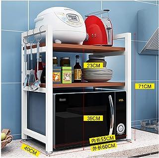 WSCC Grille de Four à Micro-Ondes 2 Couches Rice Cooker Support de Rangement, Peut Supporter 100 kg, Filet de sécurité, Cu...