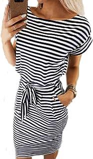 Damen Sommerkleid Kurzarm Rundhals Midi Kleid Einfarbig Freizeitkleid Wickelkleider mit Gürtel