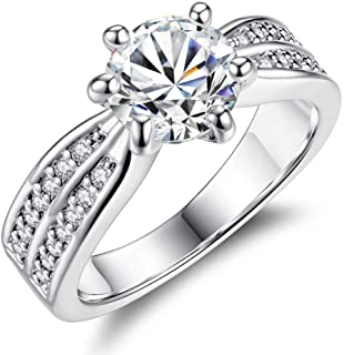 HYLJZ Anello Engagement Rings for Women Full with Super Shiny Zircon White Gold Jewelry Valentine's Day Gifts