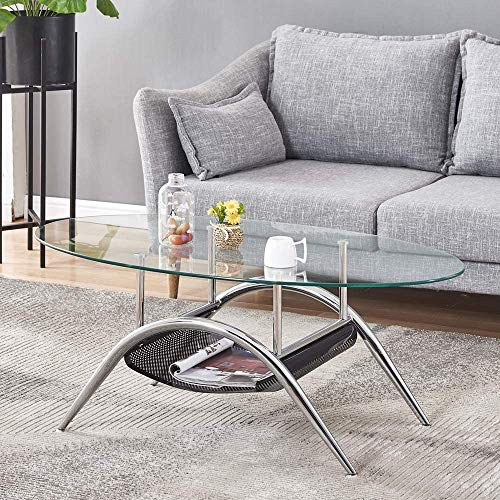Modern Living Room Coffee Table Oval 39' with Storage Shelf, Clear Tempered Glass End Table with Chrome Legs Sofa Tea Table for Office Waiting Reception Furniture