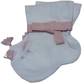 Korean Hanbok Traditional Socks Boys Girls Costumes 100 Days (3M-6M) Cotton White/Pink Ribbon so103