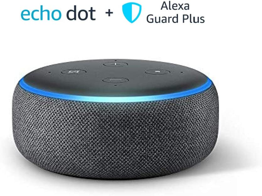Echo Dot (3rd Gen), Charcoal, with 30-day free trial of Guard Plus (monthly auto-renewal)