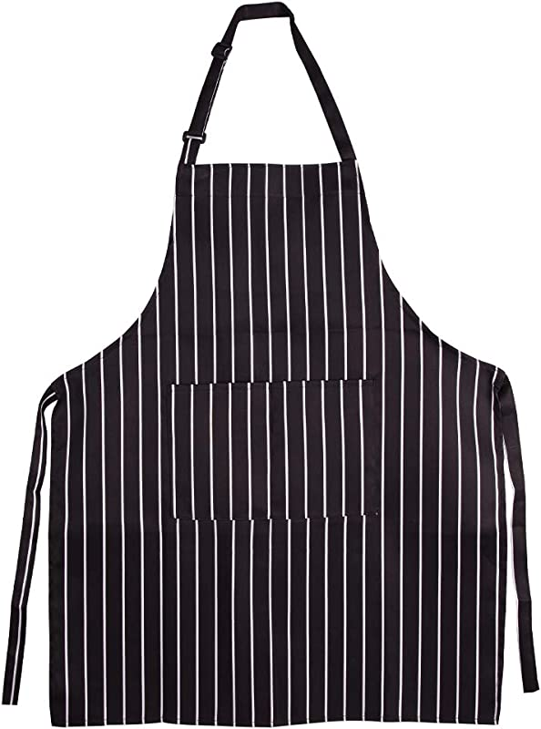 IFly US Kitchen Aprons For Men Women Adjustable Bib Apron With Big Pockets Long Belts Waterproof Apron For Chefs Barber Cooking Serving Baking In Black White Pinstripe