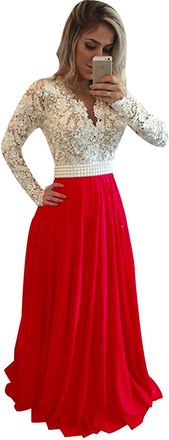 SDRESS Women's Pearls Lace Appliques Long Sleeve V Neck Illusion Back Prom Dress