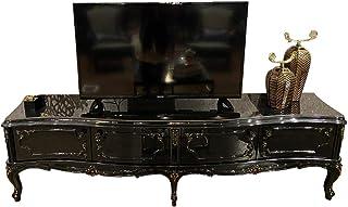 Casa Padrino gabinete TV Barroco NegroOro Antiguo 222 x 50 x A. 62 cm - Mueble de televisión Noble con 4 Puertas y Tapa d...
