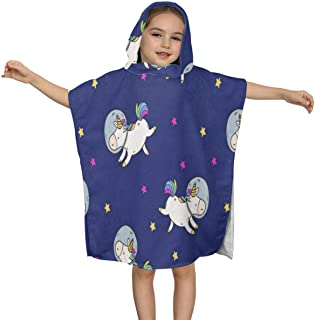 ZHOUSUN Extra Large Super Soft and Absorbent Hooded Poncho Bath Towel,Cute Fat Small Unicorn Beach Towel for Kids