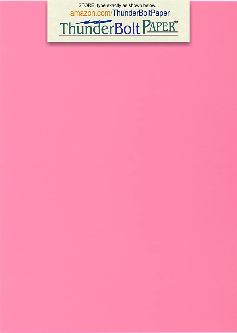 100 Bright Pink 65lb Cover|Card Paper - 5 X 7 Inches Photo|Card|Frame Size - 65 lb/Pound Light Weight Cardstock - Quality Printable Smooth Surface for Bright Colorful Results
