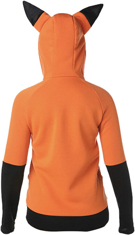 Animal Cosplay Hoodie Fox Coniglio Ears Giacca Unisex Manica Lunga Arancione Colorblock Felpa