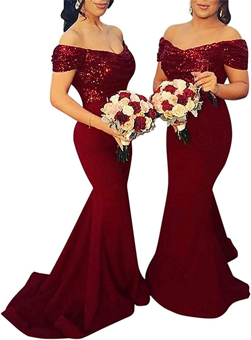Sequin Mermaid Bridesmaid Dress Off Formal Ev Shoulder Gown Long New York Mall Branded goods