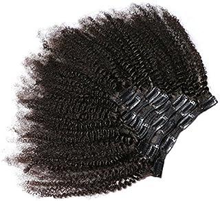 KeLang Hair African American Afro Kinky Curly Clip In Human Hair Extensions Brazilian Virgin Hair Natural Color 4B 4C Afro...