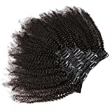 KeLang Hair African American Afro Kinky Curly Clip In Human Hair Extensions Brazilian Virgin Hair Natural Color 4B 4C...