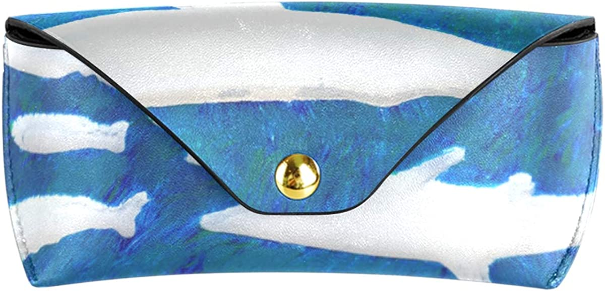 Goggles Bag Cute Abstract Snow Whale Multiuse Portable Sunglasses Case Eyeglasses Pouch PU Leather