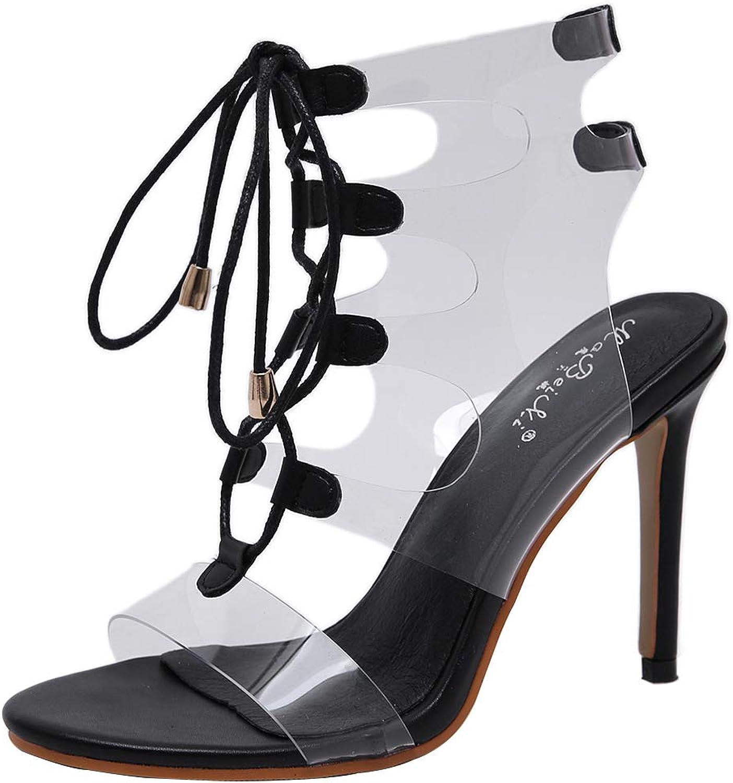 KemeKiss Women Clear Ankle Strap Sandals Stitletto Heels