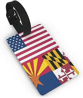 SCcdyhlunsd Arizona Maryland Usa Flag Luggage Tag Initial Bag Tag Etag Holders PVC Size 2.2